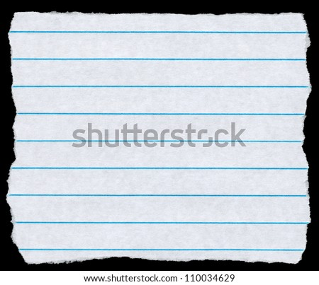 Square torn piece of white lined paper isolated on black.