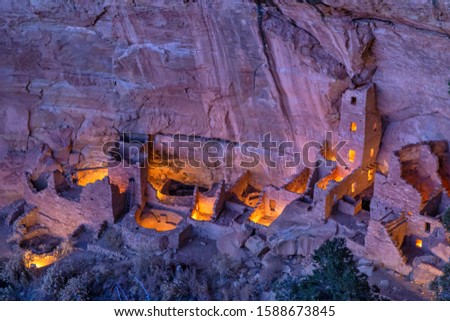 Square Tower House, the tallest cliff dwelling in Mesa Verde, illuminated for only the 2nd time during the Luminaria Festival in Mesa Verde National Park, Colorado. Stock photo ©
