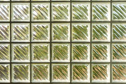 Square transparent glass block wall interior design for home or building decoration. allow natural light to fill in and see shade of green garden outside. Texture pattern concept. Wallpaper