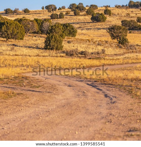 Square Unpaved trail winding through a vast grassy terrain viewed on a sunny day #1399585541
