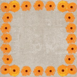 Square vintage textured frame with orange chrysanthemum flowers