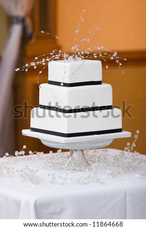 Square Wedding Cake - stock photo