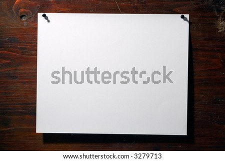 square white paper bill pin grunge wood aged background