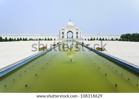 Square with pond in front of the Mosque at the Hui Cultural Center in Yinchuan, Ningxia Province, China