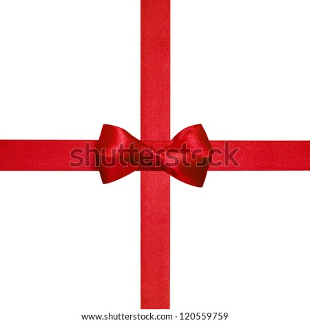 square with red ribbons and a simple bow isolated on white