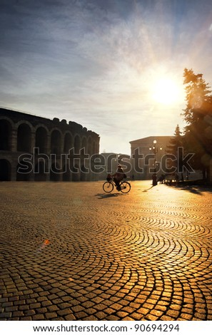 Square with Roman Arena. Verona. Italy