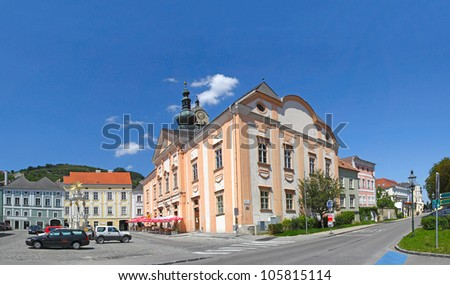 Square with town hall of Krems - Stein. Krems an der Donau in the Wachau Valley - UNESCO World Heritage Site, Lower Austria
