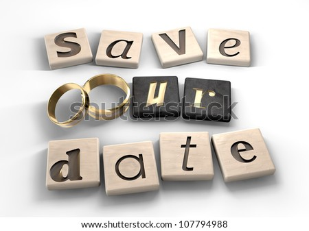 Square wood tiles engraved with various letters spelling out the term save our date with two gold wedding bands as the o