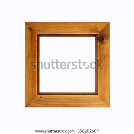 Square wooden picture frame, for art design, isolated on white background.