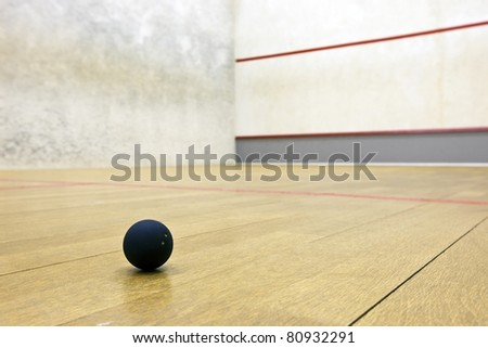 Squash ball in sport court - stock photo