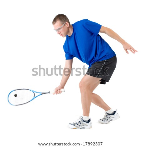 Squash player hitting forehand isolated on white background