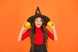 squash vegetable. carnival festive costume of witch. kid with small pumpkin. child celebrate autumn holiday. teenage girl in witch hat celebrate halloween. happy halloween. trick or treat concept.