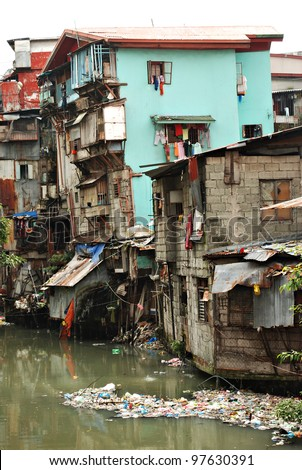 Squatter Shacks and Houses in a Slum Urban Area