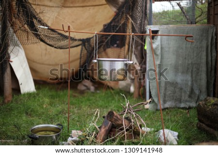 Squatters camp, tent and camp fire #1309141948