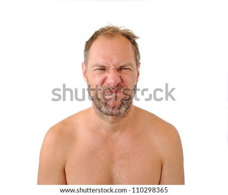 Squeamish men isolated on the white background