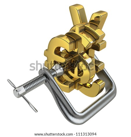 Squeeze effect of the euro and on other international currencies with a C clamp on white background