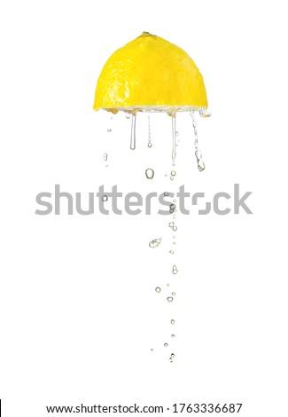 Squeeze lemon isolated on white Stockfoto ©