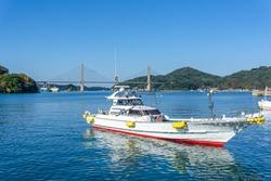 Squid fishing boats at Yobuko Port located on the Higashi Matsuura Peninsula in the northwestern part of karatsu. traditional in morning market at Yobuko, Saga, Karatsu, Kyushu, Japan