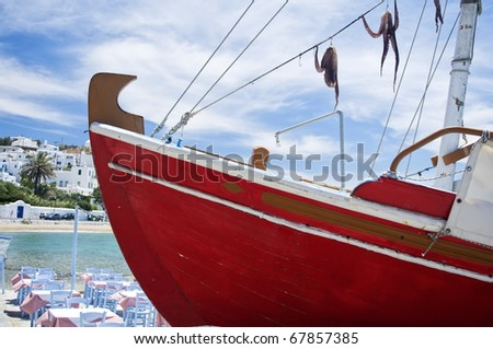 Squid on a red Boat