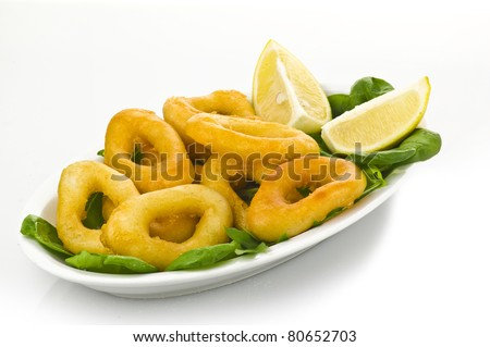 squid rings on plate with salad