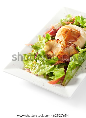 Squid Stuffed with Fish and Vegetables. Garnished on Salad Leaf