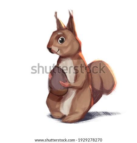ARTCANVAS Squirrel Animal Holding Nut Canvas Art Print