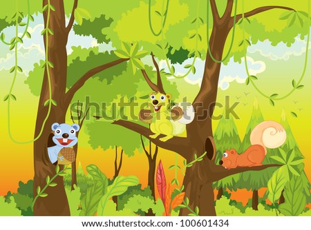 squirrels in the jungle - EPS VECTOR format also available in my portfolio. #100601434