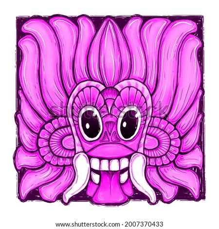 Sri Lanka cultural historic falk dance traditional mask  style  of devil, yaka, Raksha, face mask, face, digital, graphic, painting illustration art  Stok fotoğraf ©