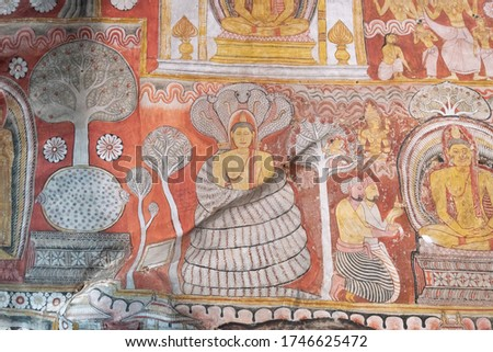 Sri lanka Dambulla royal cave and golden temple unesco world heritage sites famous place for tourist in central of sri lanka.Major attractictions are Buddha , Sri lankan kings statues and paintings.