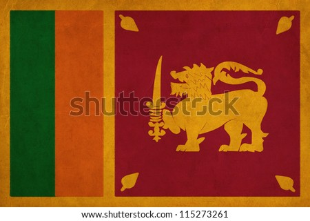 Sri Lanka flag drawing ,grunge and retro flag series