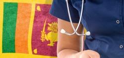 Sri Lanka flag female doctor with stethoscope, national healthcare system
