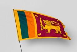 Sri Lanka flag isolated on white background. National symbol of Sri Lanka. Close up waving flag with clipping path.