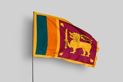 Sri Lanka flag isolated on white background with clipping path. close up waving flag of Sri Lanka. flag symbols of Sri Lanka. Sri Lanka flag frame with empty space for your text.