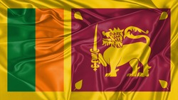 Sri Lanka Flag of Silk, Flag of Sri Lanka fabric texture background.
