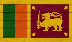 Sri Lanka flag on a wooden texture. Wood texture, planks Wooden texture background flag. Flag painted with paints on wood