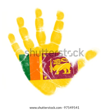 Sri Lanka flag palm print isolated on white background