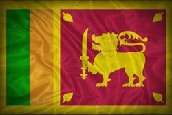 Sri Lanka flag pattern on the fabric texture ,vintage style