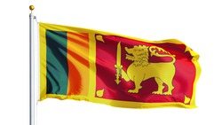 Sri Lanka flag waving on white background, close up, isolated with clipping path mask alpha channel transparency