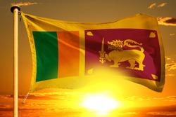 Sri Lanka flag weaving on the beautiful orange sunset background