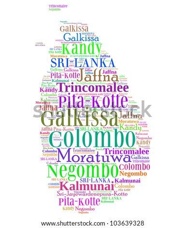 Sri Lanka map and words cloud with larger cities