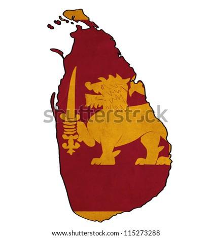 Sri Lanka map on Sri Lanka flag drawing ,grunge and retro flag series