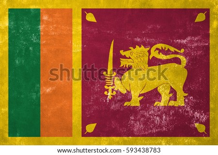 Sri Lanka - Sri Lankan Flag on Old Grunge Texture Background