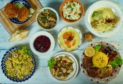 Sri Lankan   cuisine, Traditional assorted  dishes, Top view.