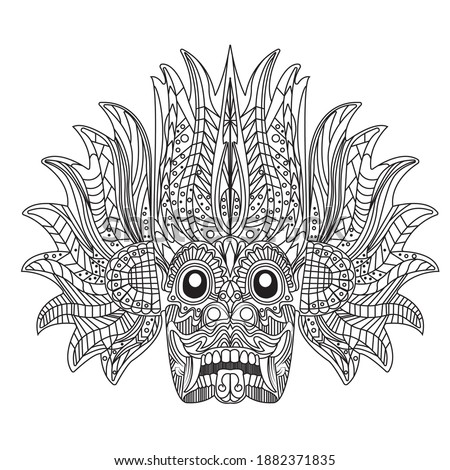 Sri Lankan Devil (Yaka) - Devil Mask Illustration  Stok fotoğraf ©