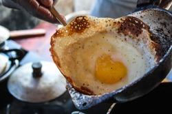 Sri lankan egg hopper freshly cooked - Ella, Sri Lanka