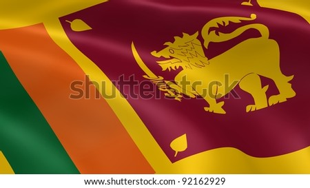 Sri Lankan flag in the wind. Part of a series.