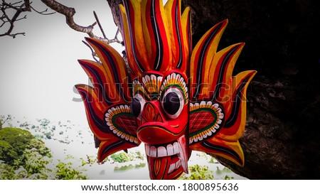 Sri lankan traditional devil mask original Stok fotoğraf ©