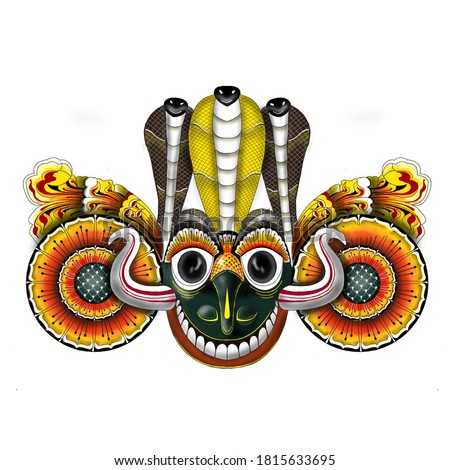 Sri Lankan Traditional Gara Yaka Mask Stok fotoğraf ©