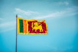 Srilanka flag in the blue sky