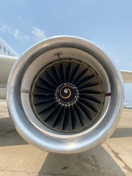 SriLanka - 17th of March 2021: Airbus 320 engine close up landed at Colombo international airport , SriLanka.